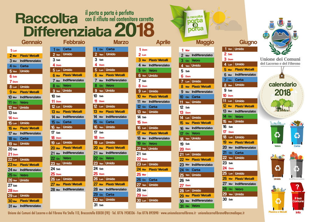 Calendario raccolta differenziata Campoli Appennino 2018 - 1