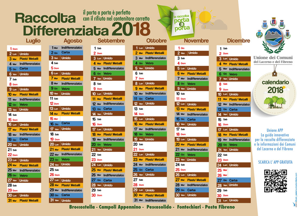 Calendario raccolta differenziata Campoli Appennino 2018 - 2